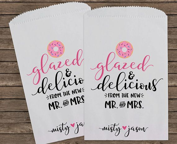 Donut Favor Bag Glazed and Delicious Wedding by StampsJubilee