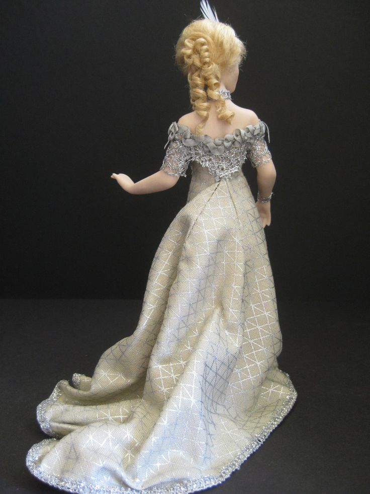 Exquisite twelfth scale dollshouse doll~Celia Mayfield~with elegant evening gown   eBay