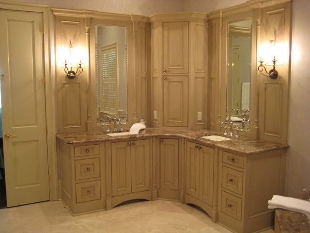 utilizing a corner for bathroom cabinets - Google Search