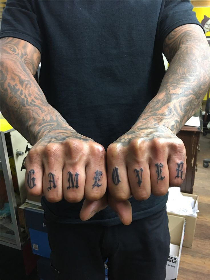 Game over knuckle tattoo 231 Tattoo Shop in Panama City