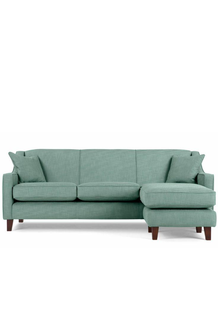 An Elegant Design Reminiscent Of The The Halston Large Corner Sofa In Aqua  Has A Deep, Comfy Seat.