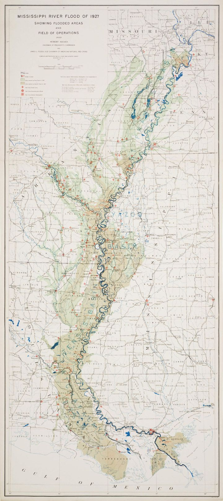 Mississippi River Flood of 1927 Showing Flooded Areas and Field of Operations.