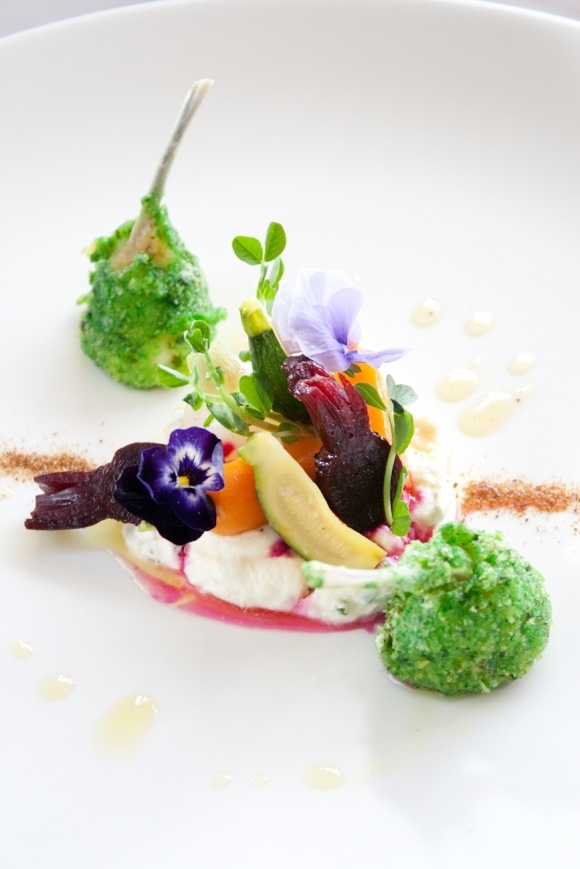 Chaud Froid of Baby and Young Vegetables with Frog Leg Sour Cream by Chef Richard Toix (Passion et Gourmandises, Poitiers)