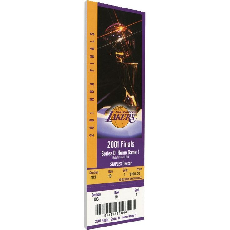 That's My Ticket Los Angeles Lakers 2001 NBA Finals Game 1 Canvas Ticket, Team