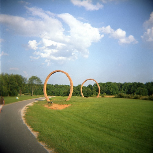 "walking trail at the NC Museum of Art - walked this MANY times from Meredith to Art Museum & back. The ""Stargates"" is what I liked to call this sculpture..."