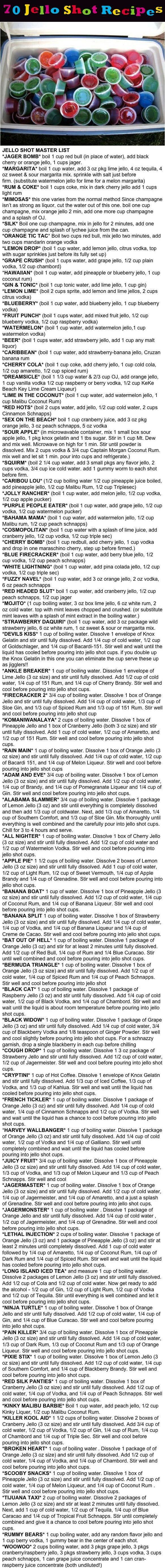 70 Jello Shot Recipes