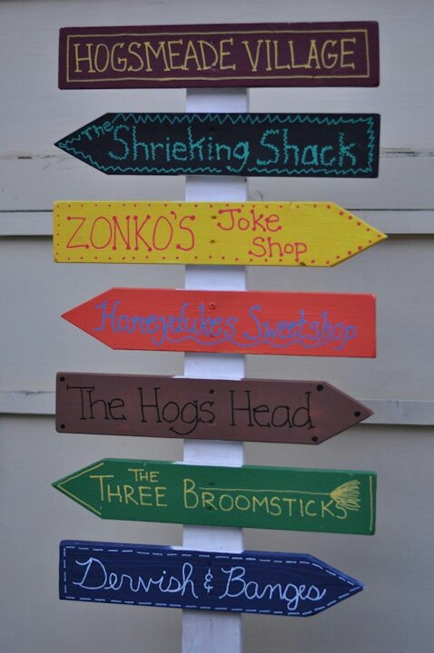 Hogsmeade sign. Harry potter decorations. We can make these out of construction paper and markers. I have those!