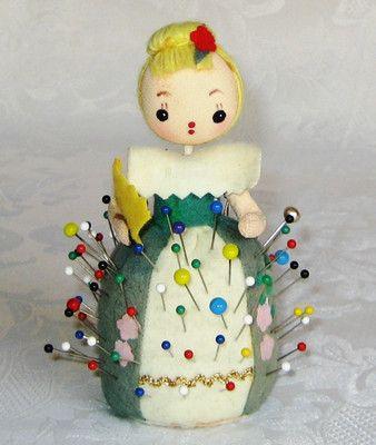 """Vintage Felt Fabric GIRL w/ Fan PIN CUSHION w/ Built-in TAPE Measure JAPAN 4.5"""""""