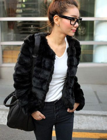 Perfect Faux Fur Black Concise Style Open Collar Long Sleeve Jackets & Coats