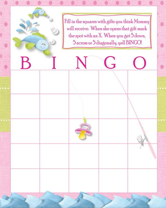 Diy instant download fishing baby shower bingo card for Fishing games for girls
