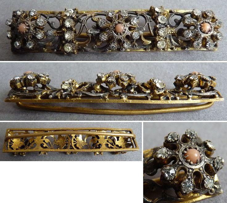 Barette de ceinture boucle en métal doré + strass Bijou ancien 19e siècle in Art, antiquités, Objets du XIXème, et avant | eBay