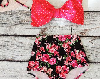 Adorable floral and polka dot high waist bow bikini by Pita Pata Diva on Etsy
