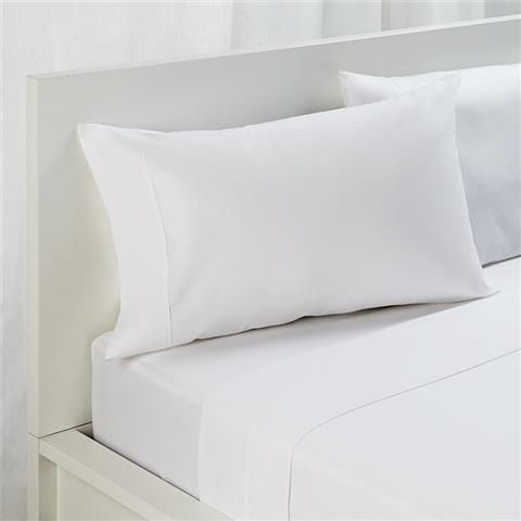 Bedding on a budget: Queen Bed Sheet Set White - includes 1 flat sheet, 1 fitted sheet, 2 pillowcases (although 180 thread count) | Kmart