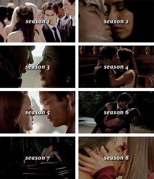 "#TVD The Vampire Diaries Elena & Damon ""season 1,season 2,season 3,season 4,season 5,season 6,season 7,season 8"""
