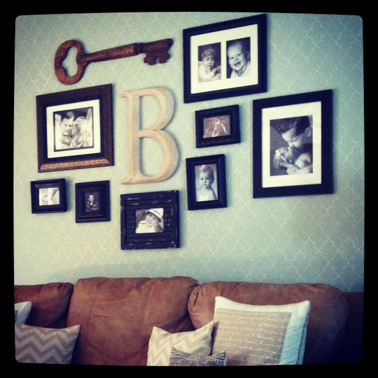 Photo wall with initial, would look great over our couch, not too busy for our small living room.