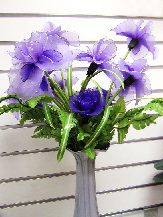 Nylon Flower Iris Arrangement (Vase included) via Etsy