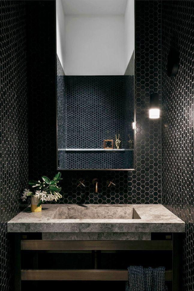 35 Design Ideas That Will Make Small Bathrooms Feel So Much Bigger In 2020 Small Dark Bathroom Small Bathroom Dark Bathrooms