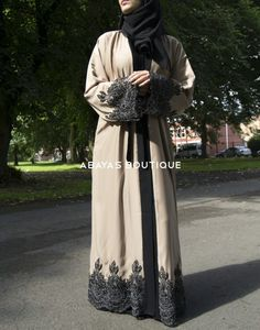 Cream Abaya with Black and Silver Lace