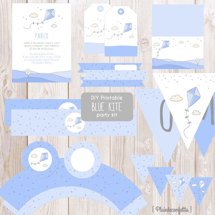 DIY Printable blue kite party kit Instant by Pluiedeconfettis