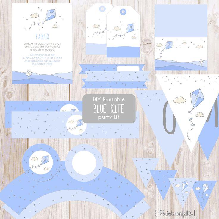 DIY Printable blue kite party kit Instant by Pluiedeconfettis
