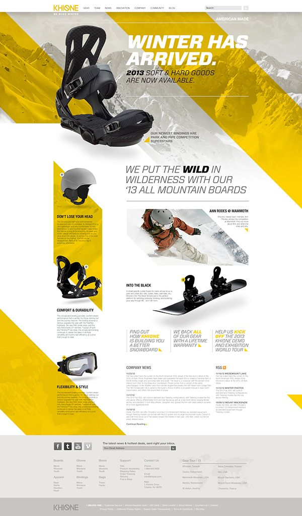 Khione Snowboard Website by Dennis Ventrello, via Behance