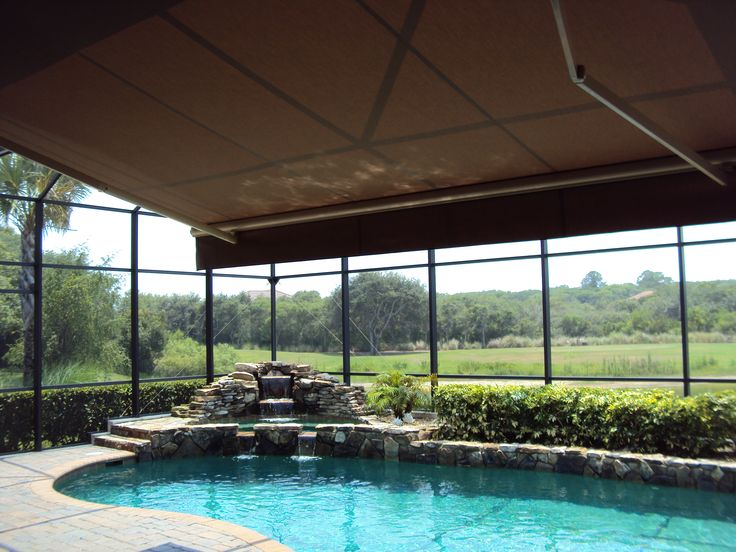 Retractable awning within screened pool enclosure google search pool side pinterest Retractable swimming pool enclosures