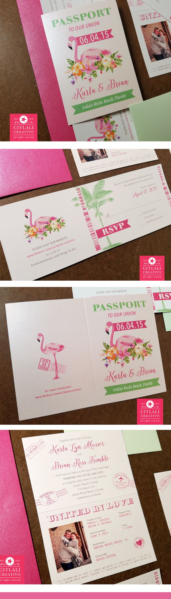 blank beach bridal shower invitations%0A Flamingo Passport   Boarding Pass Beach Wedding Invitations in hot pink