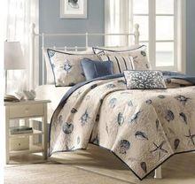100% katoen quilten bed cover Zeester patroon sabanas sprei dekbed beddengoed set laken, Blauw Patchwork ropa de cama(China (Mainland))