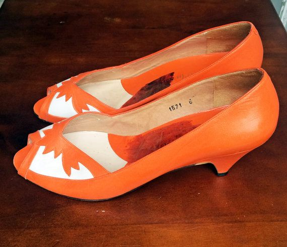 Vintage Orange & White Peep Toe Court Shoes by MissMyrtlesVintage