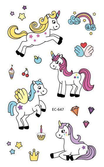 Waterproof Temporary Tattoo Sticker Fake Tatto Cute Unicorn Horse Rainbow Flash …,  #cute #… – DIY Tattoo Vorübergehend Blog