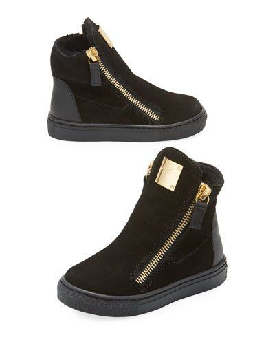 b0d987fd6372e Giuseppe Zanotti Girls' London Laceless Suede High-Top Sneaker, Toddler