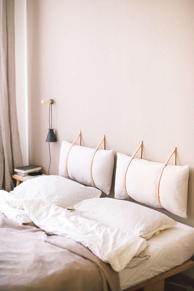 DIY Bettkopf mit Lederriemen   – DIY Möbel / Wohnen
