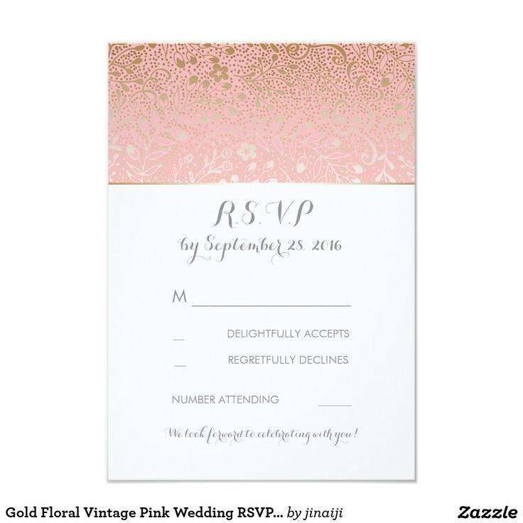 Gold Floral Vintage Pink Wedding RSVP Cards Gold floral vintage pink wedding reply cards