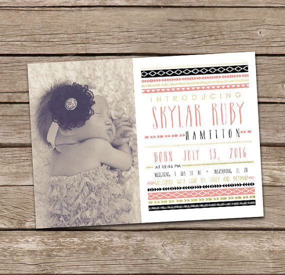 Baby Girl Birth Announcement: Skylar Printable Custom by deanworks