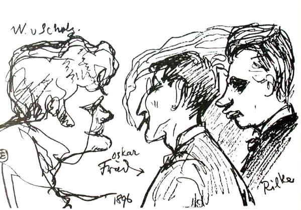 Rilke w towarzystwie Wilhelma von Scholza oraz Oskara Frieda. Karykatura Emila Orlika, 1896