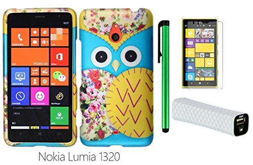 "cool Nokia Lumia 1320 (6"" Windows Phone 8 device; US Carrier : Cricket) Phone Case - Premium Pretty Design Protector Hard Snap-On Cover Case + I of 1600mAh (5V) Portable Lightweight External USB Emergency Mobile Power Bank + Screen Protector Film + 1 of New Metal Stylus Touch Screen Pen (Blue Floral Owl) Protect your phone from damage This accessory pack is manufactured for the Nokia Lumia 1320 On the Cricket Pre-cut openings allows full access to all…"