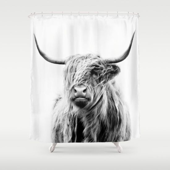 Buy Shower Curtains featuring portrait of a highland cow by Dorit Fuhg. Made from 100% easy care polyester our designer shower curtains are printed in the USA and feature a 12 button-hole top for simple hanging.