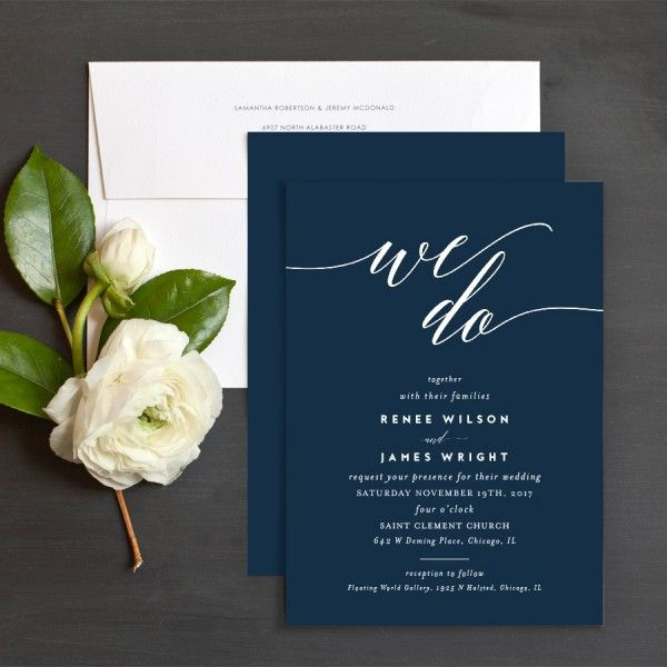 We Do wedding invitations in navy blue and white