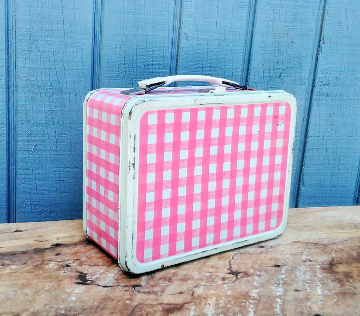 Vintage Lunch Box - Pink Gingham Lunch Box - Vintage Lunch Pail - Thermos Lunch Box - Cottage - Farmhouse by theindustrycottage on Etsy