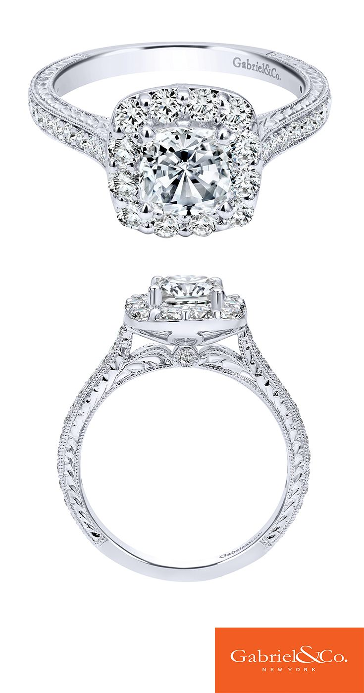 Let your amazing and classic love reflect in your timeless engagement ring like this Victorian 14k white gold diamond halo engagement ring. Discover this perfect engagement ring or customize your own at Gabriel & Co.