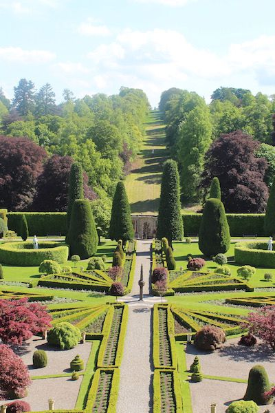 The gardens of Drummond Castle in Perthshire doubled up as the gardens of the Palace of Versailles in Season 2 of #Outlander It's also used in the promo shots. Privately owned there is a small entry fee of £5 for adults and £2 for kids. The castle isn't open to the public but the gardens are well worth visiting.