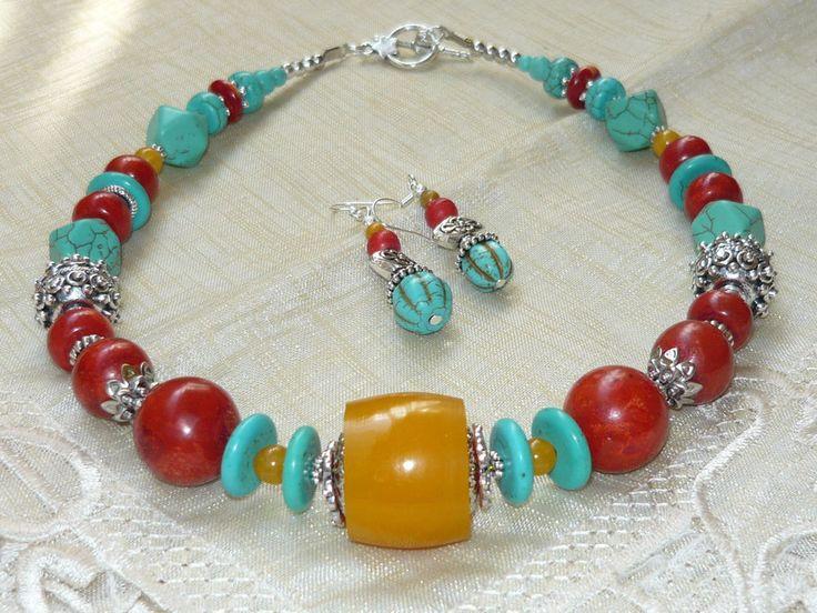Set Halskette und Ohrringe, Türkis, Koralle und Harz, Tribal Set, Tibetansilber
