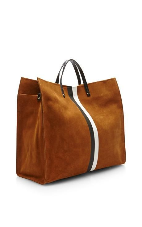 Customizable Tote In Camel With Black And White Stripes by Clare Vivier for Preorder on Moda Operandi