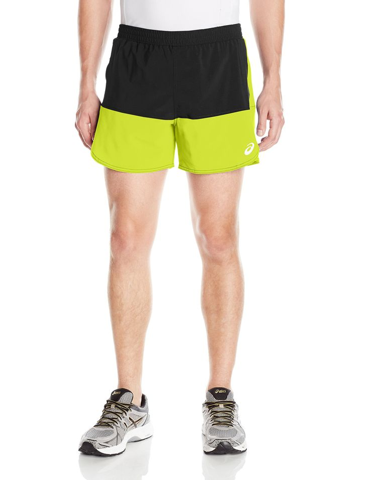 "ASICS Men's Everyday 5"" Shorts, Safety Yellow/Dark Grey, Large. Lightweight, 4-way stretch woven dobby fabric with anti-static and wicking finish. Zippered pocket on side seam. Elastic waistband with drawcord. Moisture management melange brief with anti-odor properties. Inseam : 5 ""."