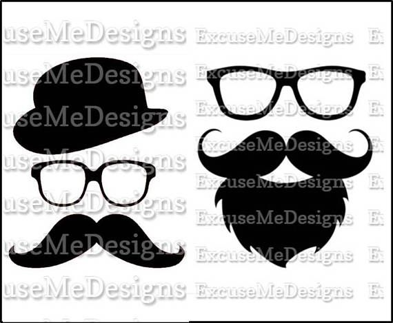 2 PATTERNS  Hipster Dudes Bearded Mustache Men with Glasses