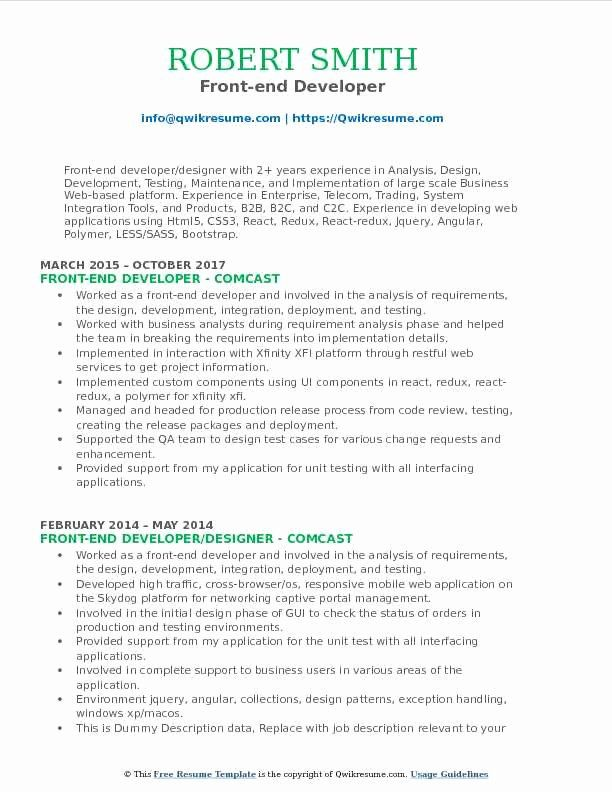 Front End Developer Resume Template Beautiful Front End Developer Resume Samples In 2020 Sales Resume Examples Resume Examples Business Analyst Resume