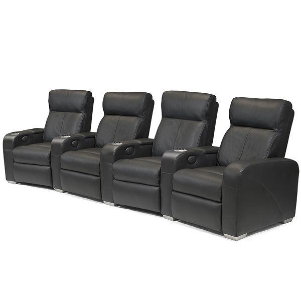 Premiere Home Cinema Seating - 4 Seater Black