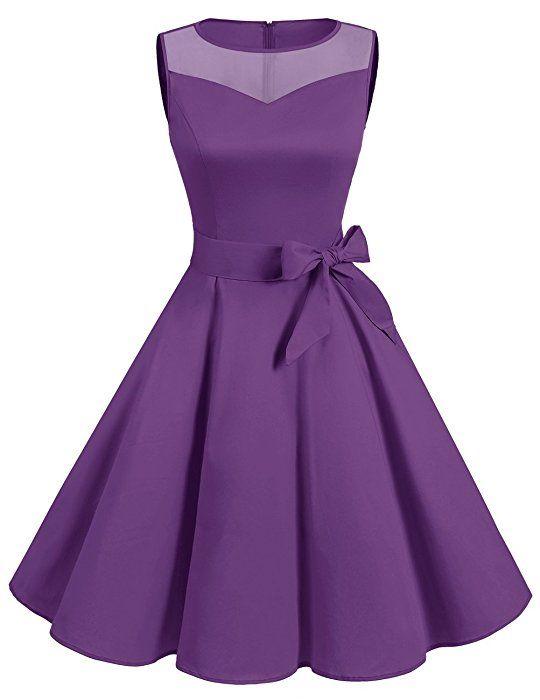 Dresstells® 50s Sleeveless Round Neck Polka Dots Illusion Rockabilly Hepburn Pinup Party Swing Dress Purple 2XL
