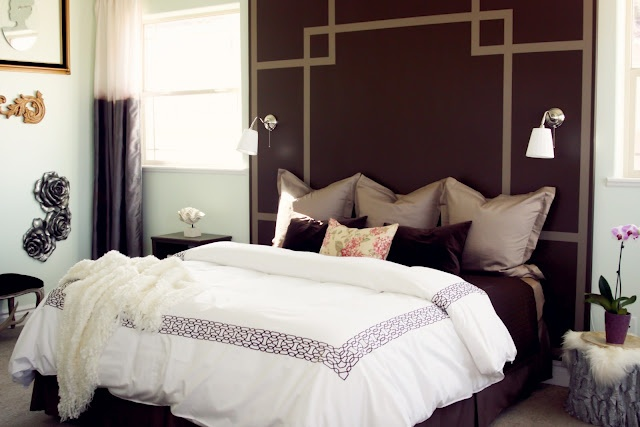 headboard from plywood and paint  Looks awesome