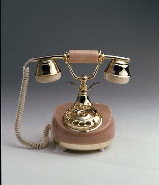 137 TELEFONO MARMO ONICE OTTONE DA APPOGGIO VINTAGE ANTICO A DISCO